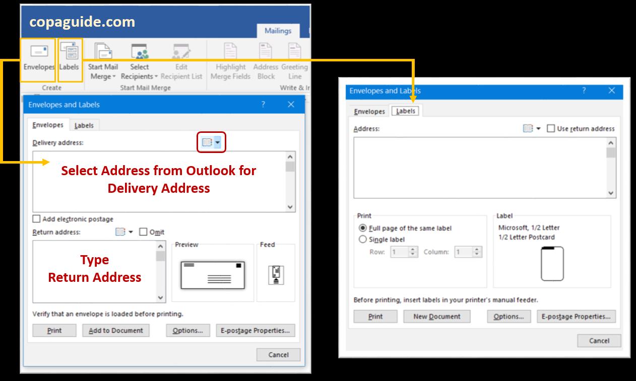 Microsoft Word - Using Envelops & Labels