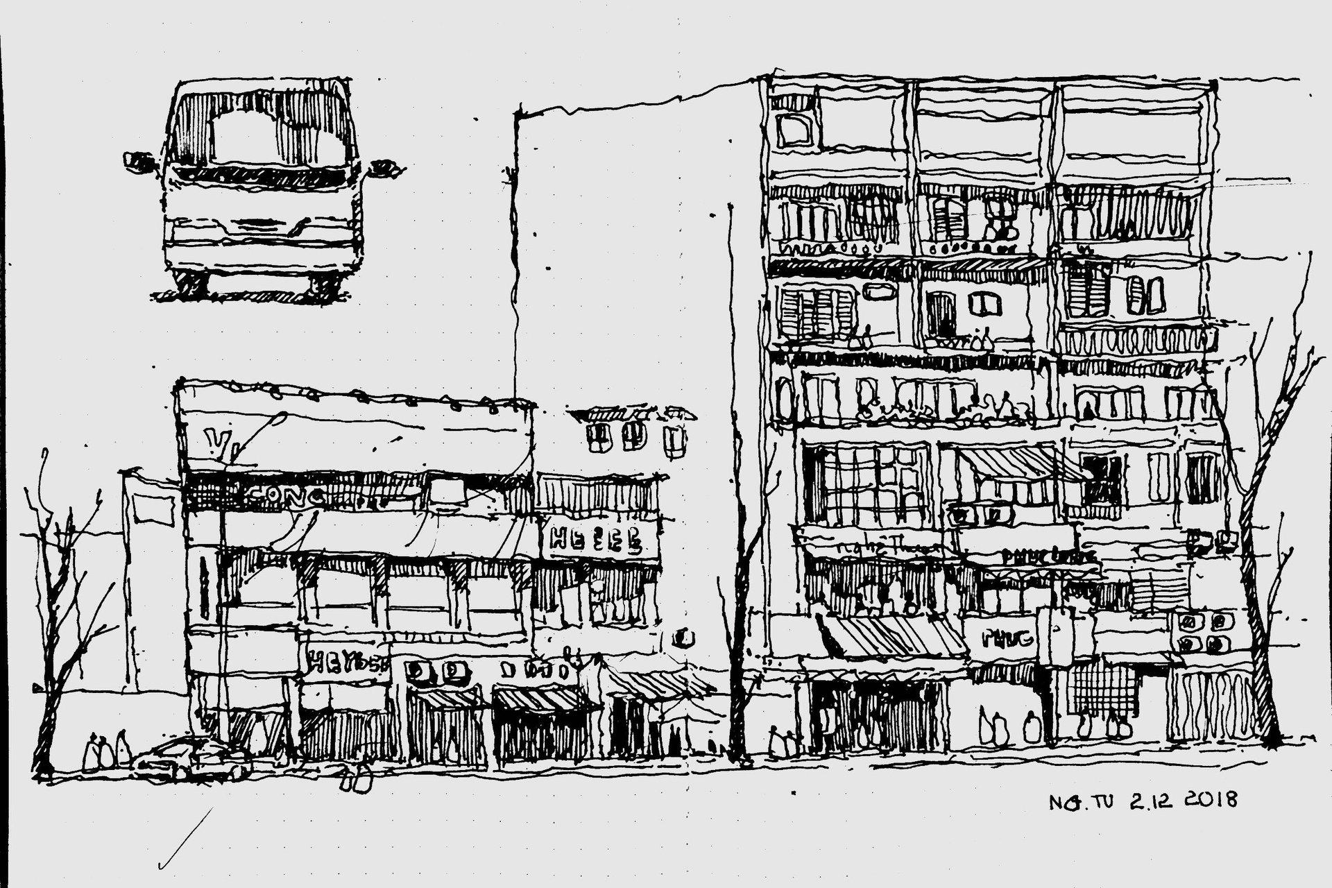Kí họa của sinh viên Võ Ngọc Thanh Tuấn kiến trúc UAH