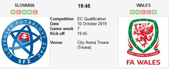 مشاهدة مباراة ويلز وسلوفاكيا بث مباشر بتاريخ 10-10-2019 التصفيات المؤهلة ليورو 2020