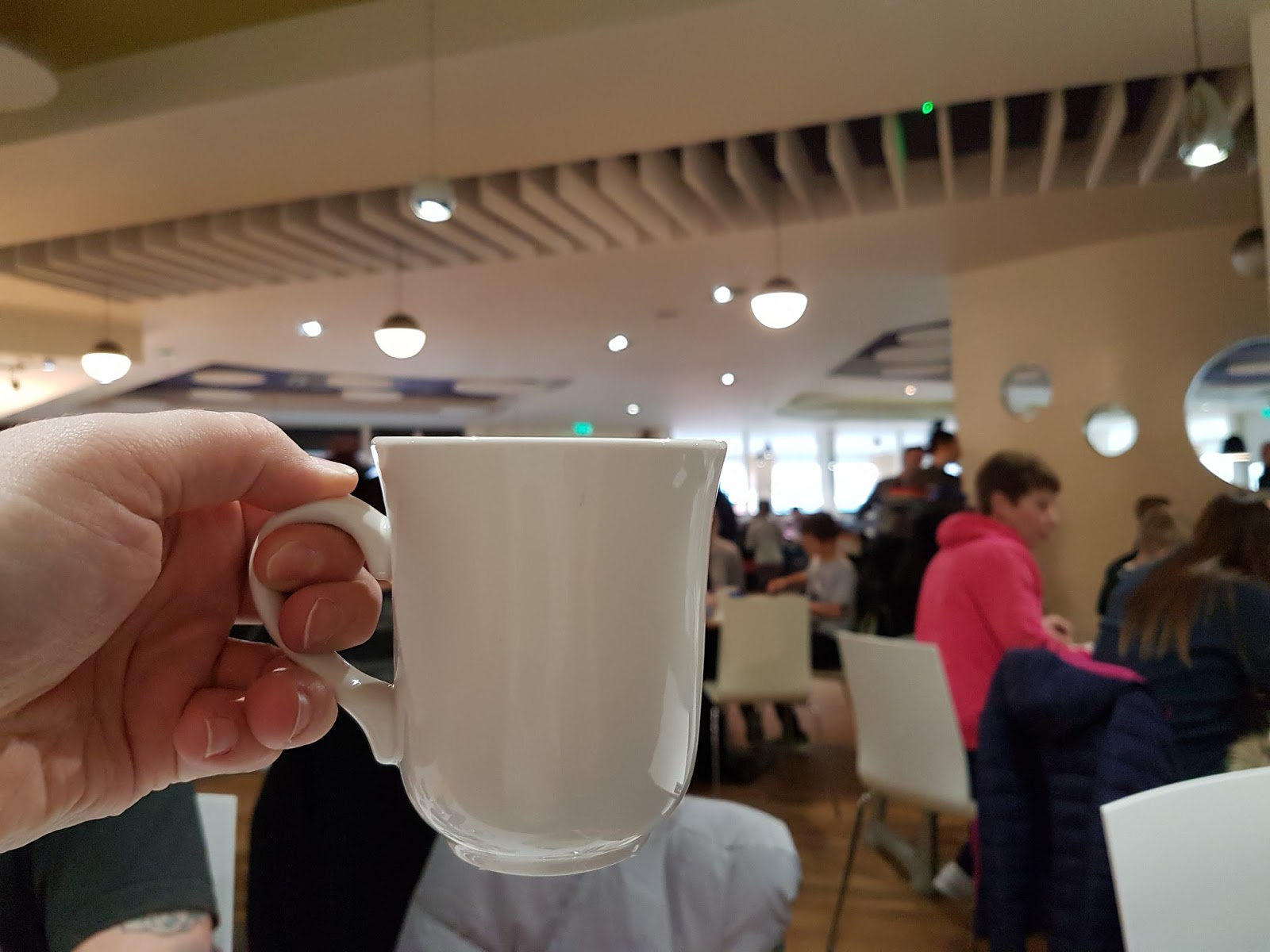 drinking coffee at butlins minehead restaurant