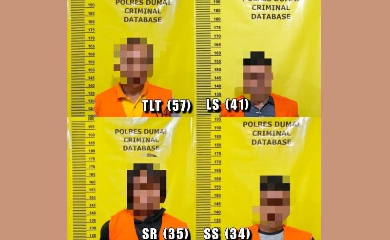 Reskrim Polsek Bukit Kapur Amankan 4 Pelaku Tindak Pidana Perjudian Mesin Gelper