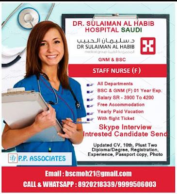 Urgently Required Staff Nurses to Dr Sulaiman Al Habib Hospital, Saudi Arabia