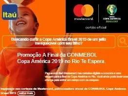 Cadastrar Promoção Itaú Mastercard 2019 Viagem Assistir Final Copa América Conmebol