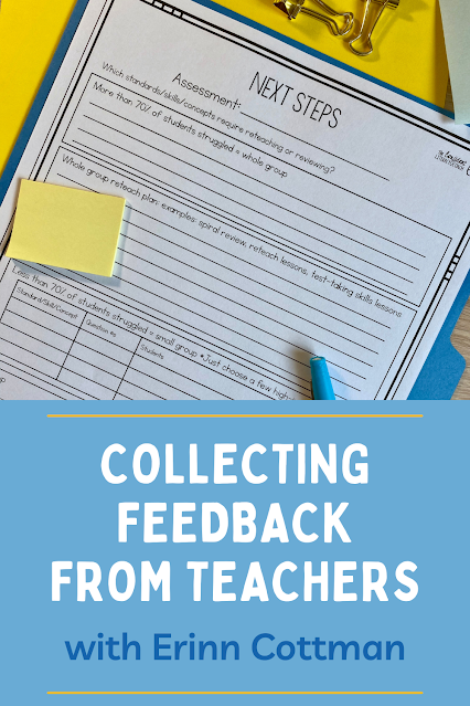 Do you struggle with collecting and using feedback from teachers?  Education consultant Erinn Cottman joins me to discuss using feedback and how to get it from multiple sources. She shares practices to normalize the feedback process and the questions she asks that get results.