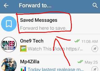 Telegram saved massage option