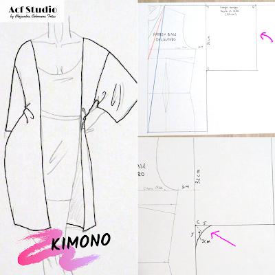 Ilustración prenda y patrón kimono