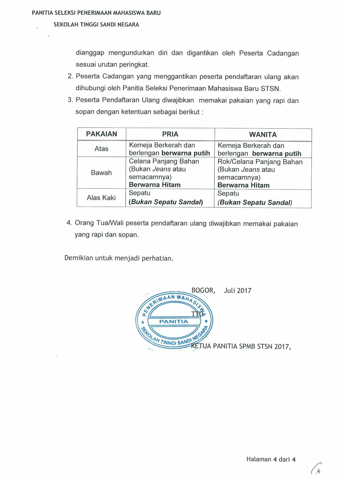 ketentuan daftar ulang STSN
