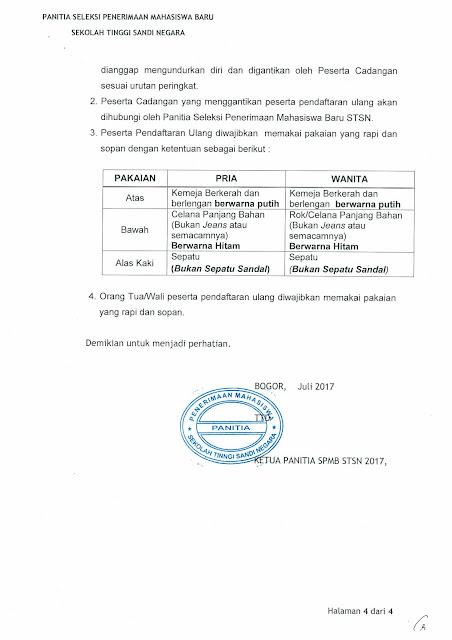 ketentuan daftar ulang stsn 2017