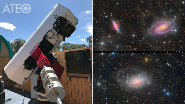 ATEO-1 with processed image data of M81 and M2 Galaxies in Ursa Major processed by Daniel Nobre and M63 - The Sunflower Galaxy in Canes Venatici processed by Utkarsh Mishra.