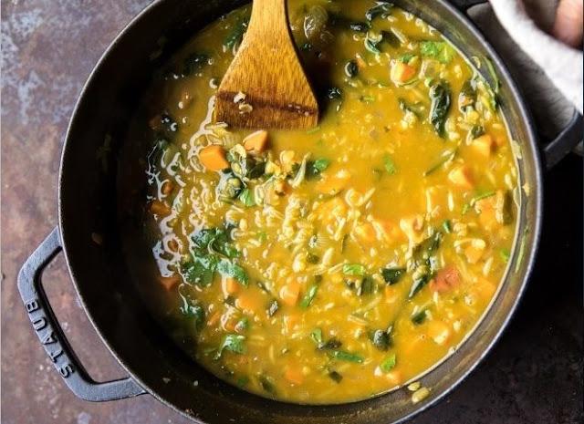 Coconut Sweet Potato Lentil Soup with Rice #vegan #soup