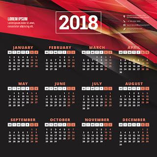 2018カレンダー無料テンプレート019