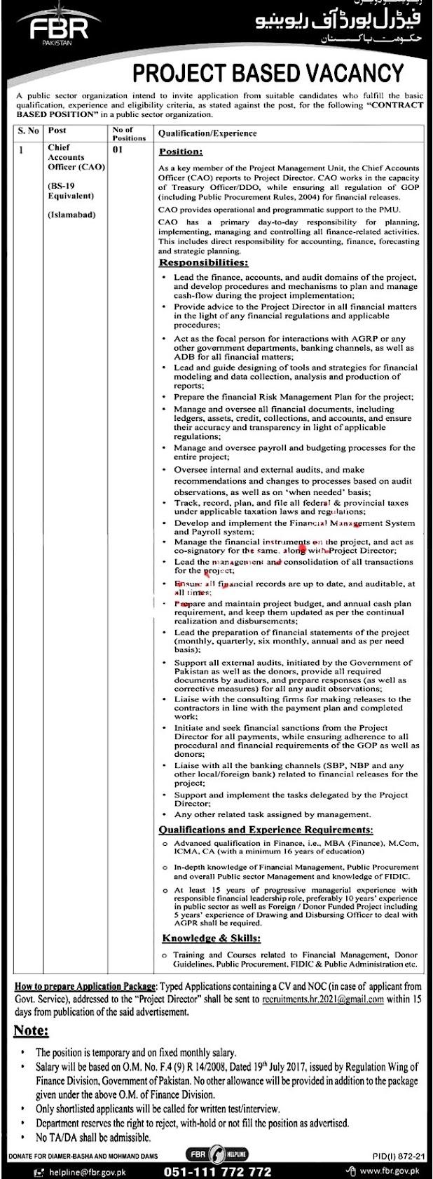 Board of Revenue FBR Latest Jobs 2021 in Pakistan