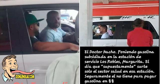 Nacho sorprendido robando cola y poniendo gasolina subsidiada en Margarita