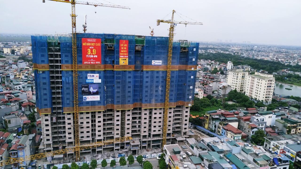 Hình ảnh tiến độ chung cư Amber Riverside Minh Khai