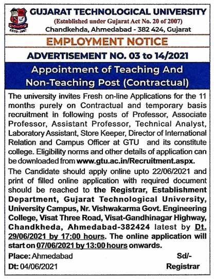 GTU Teaching & Non Teaching Recruitment 2021