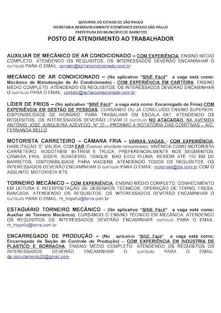 VAGAS DE EMPREGO DO PAT BARRETOS PARA 05-11-2020 PUBLICADAS DE MANHÃ - Pag. 7