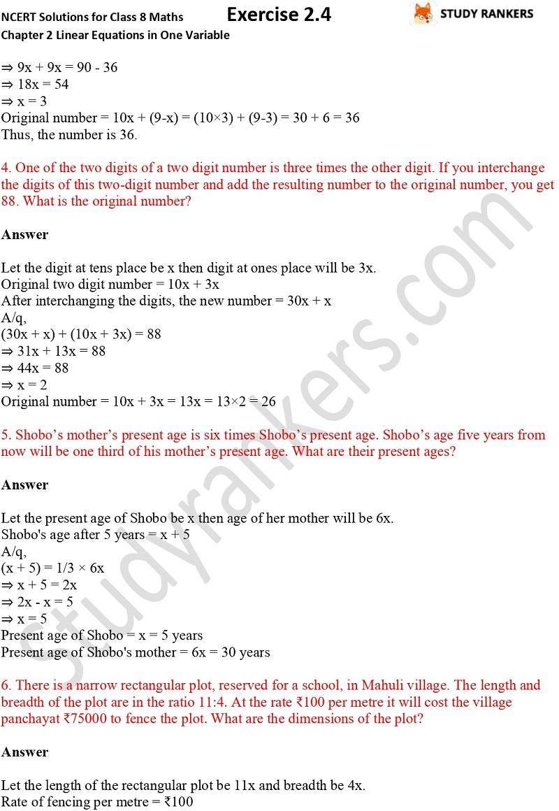 NCERT Solutions for Class 8 Maths Chapter 2 Linear Equations in One Variable Exercise 2.4 Part 2