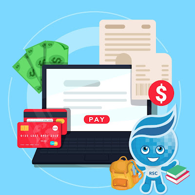 Illustrated image of a laptop surrounded by currency icons like cash, credit and debit cards.  Image of Rio Salado mascot Splash in foreground carrying books and backpack