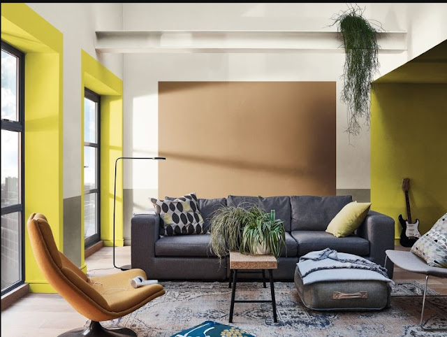 brown two colour combination for room walls