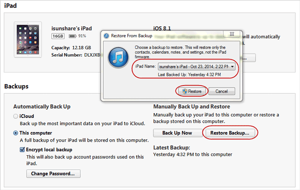 restore iPad deleted files from iTunes backup directly