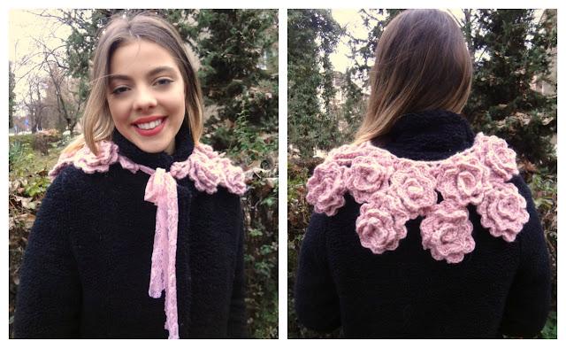Crochet Rose Scarflette – free crochet pattern