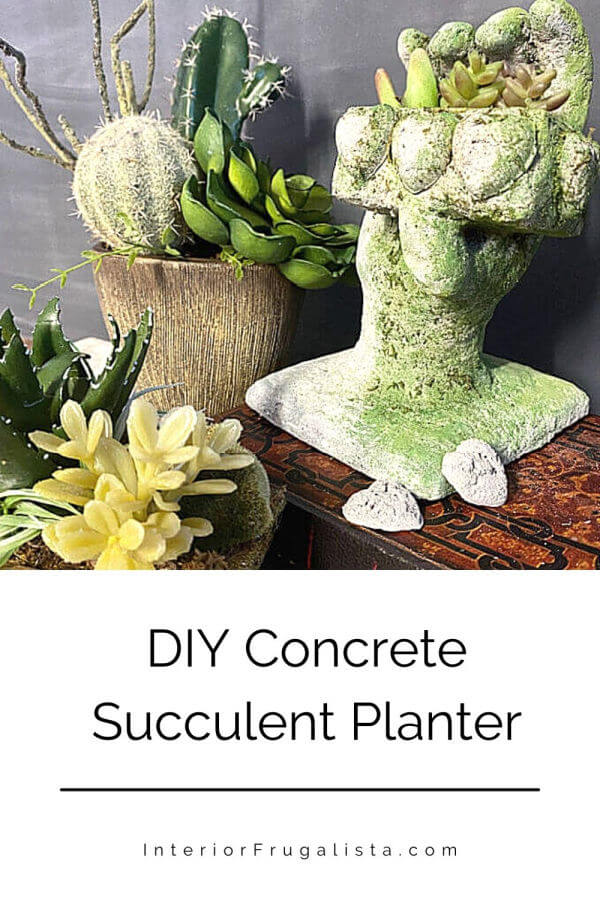 The challenge for this month's International Blogger's Club theme was cement. I decided to make a unique succulent planter using faux succulents. While I was a bit nervous, I think it turned out to be unique. #concretesucculentplanter #concreteplanter