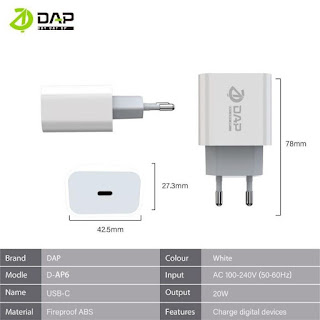 Adaptor Charger DAP D-AP6 USB-C 20W Kepala Casan Type C Fast Charge 3A