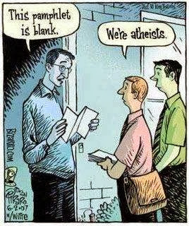 Funny religion cartoon picture - Atheist door evangelists with a blank pamphlet joke cartoon