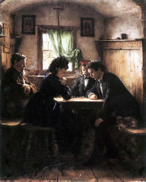 Partie d'échecs  1885 de Franz Defregger