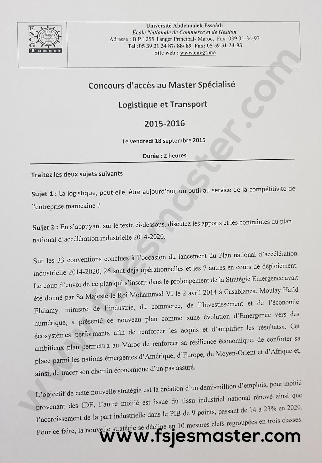 Exemple de Concours Master Logistique et Transport 2015-2016 - ENCG Tanger