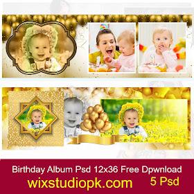 Wix Studio Pk Birthday Golden Backgrounds Album 12x36 Psd Free