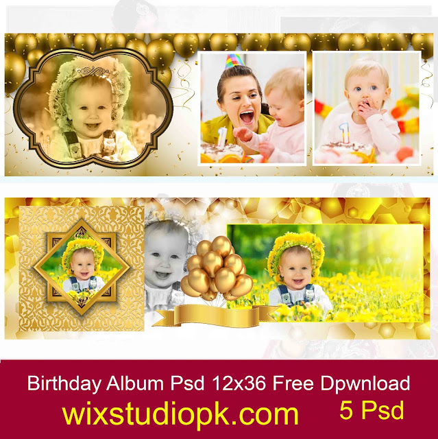 Birthday Golden Backgrounds Album 12x36 Psd Free download I Happy Birthday