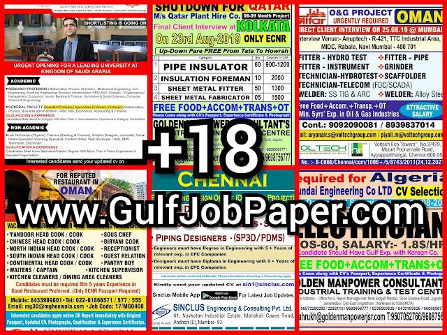 Gulf Overseas Jobs {Post Date~16 August}