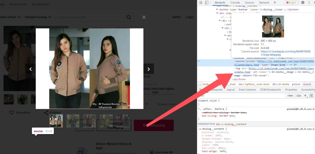 Cara Download Gambar Produk Bukalapak melalui PC atau Laptop