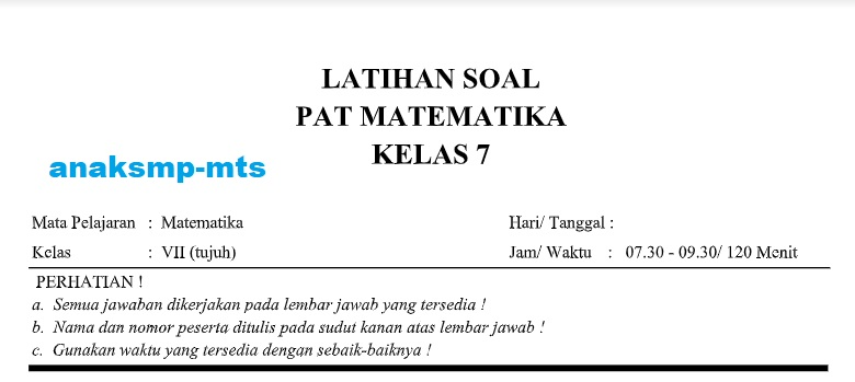 Soal Pat Matematika Kelas 7 Anak Smp Mts