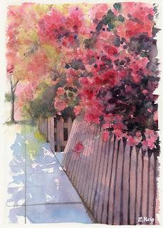 水彩画 花の生け垣