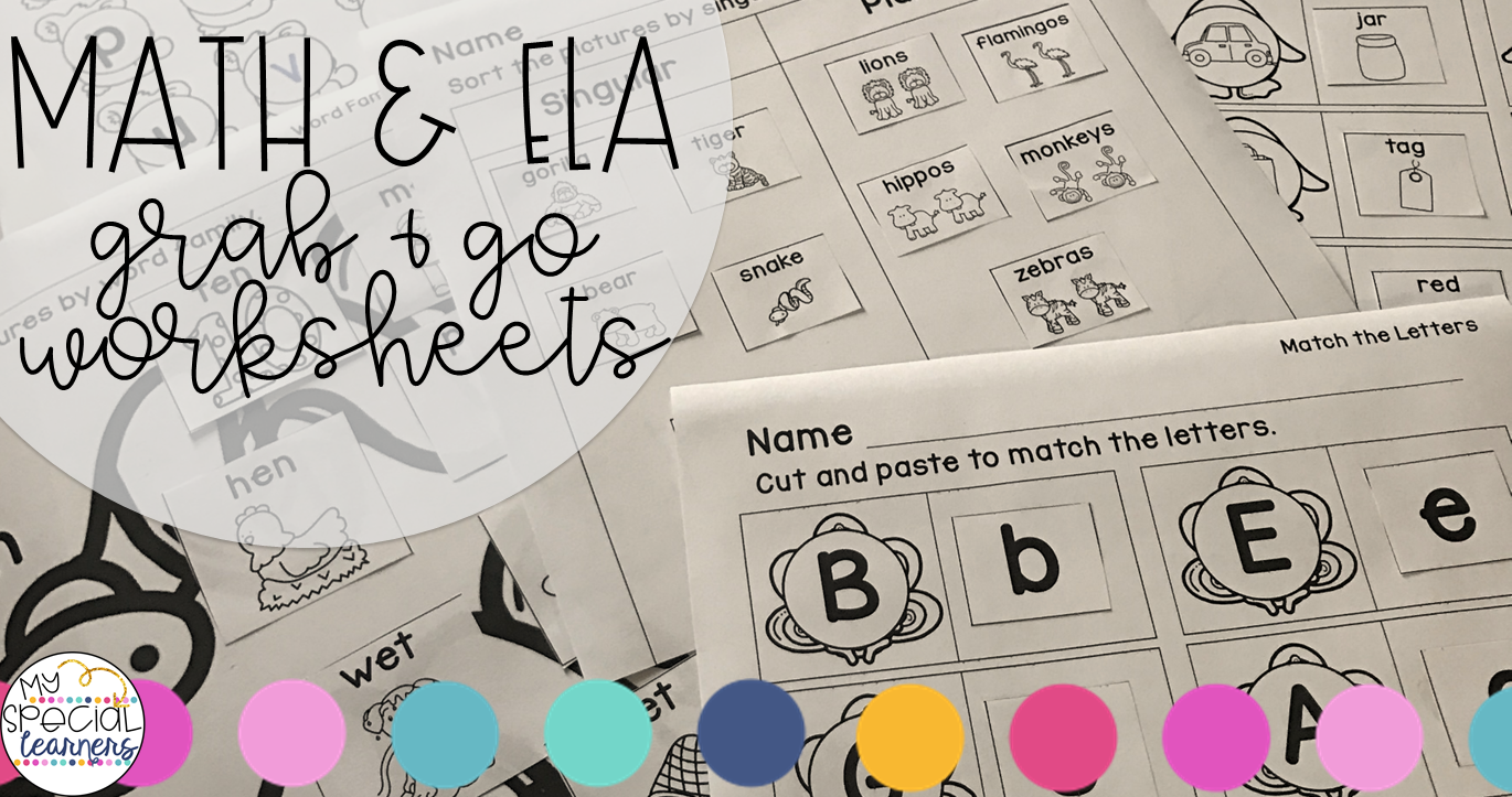 Grab & Go Monthly Math & ELA Worksheets - My Special Learners