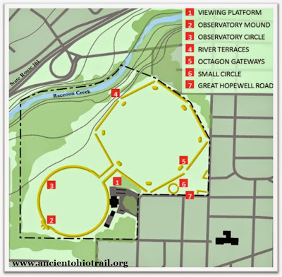 Octagon State Memorial Map with key features labeled. Image Courtesy of the Ancient Ohio Trail.