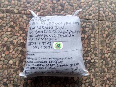 Benih padi yang dibeli   SUMIDIYONO Lamteng, Lampung.  (Setelah packing karung ).