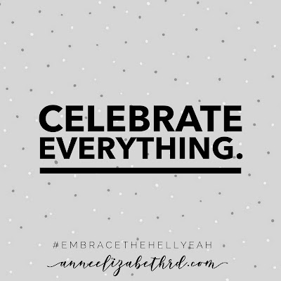 """""""Celebrate Everything"""" Weekly Wisdom in black letters on a grey background with tiny white polka dots"""