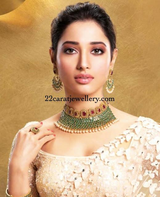 Tamannah in Uncut Diamond Emerald Choker