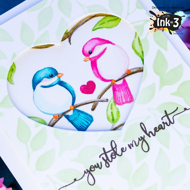 Fadeout Ink,Little Birdie Stamp Set,mirror stamping,Lovebirds,Ink On 3,Valentine's Day,Card,