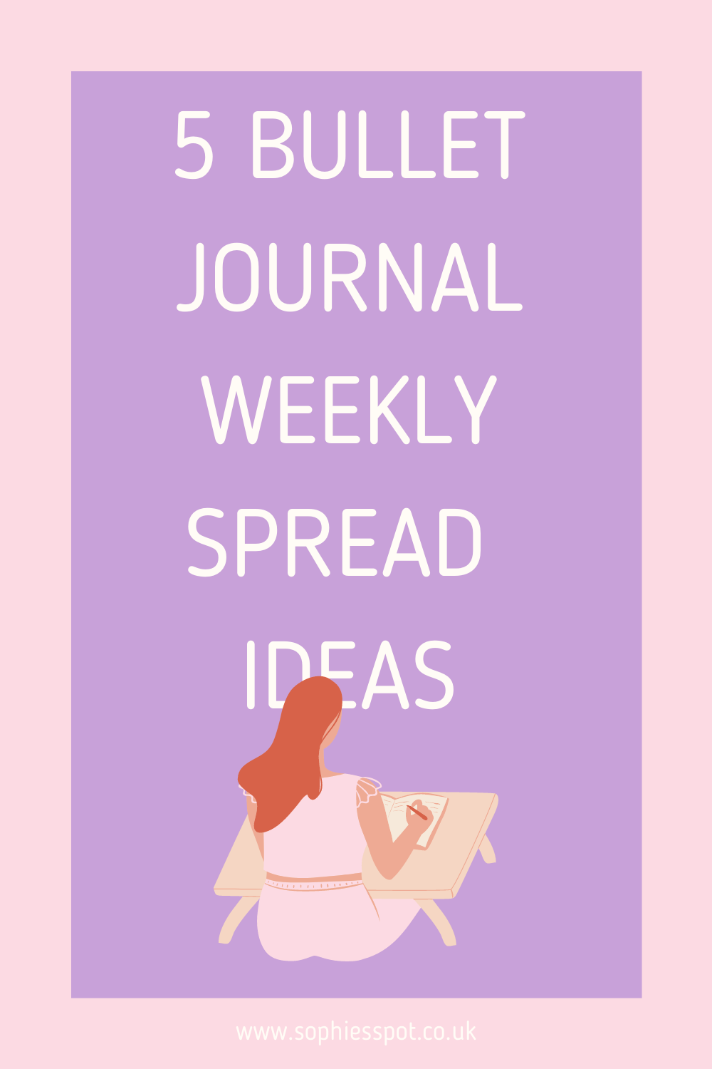 5 bullet journal weekly spread ideas graphic