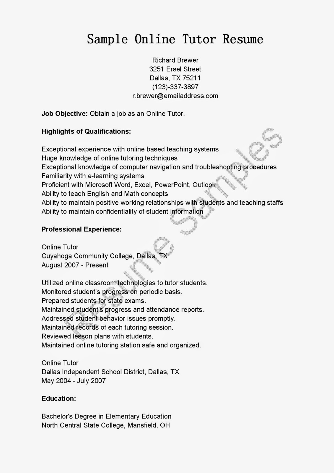 Resume Samples Paraprofessional Tutor Resume Sample