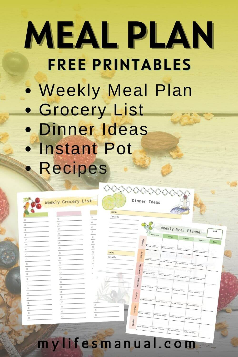 Grab these free meal planning printables to ditch the overwhelm in planning your meals. This is perfect for beginners who want to get started with meal planning and reducing their food budget. You'll get a weekly meal planner, grocery list and recipes.