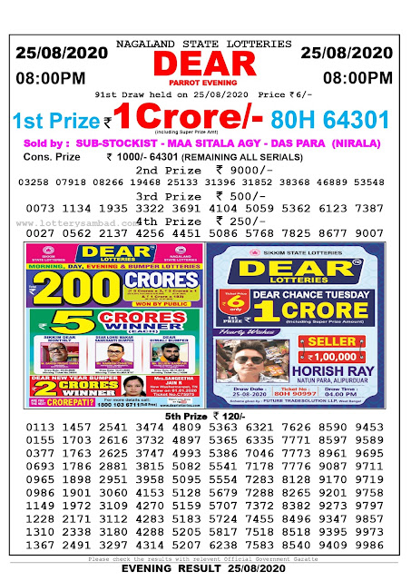 Lottery Sambad Result 25.08.2020 Dear Parrot Evening 8:00 pm