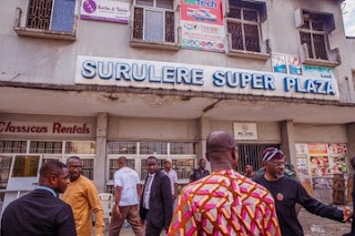 Femi Gbajabiamila Visit Surulere Mall Gutted By Fire (photo)