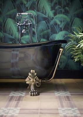 ציור הקיר לאמבטיה בסגנון ג'ונגל