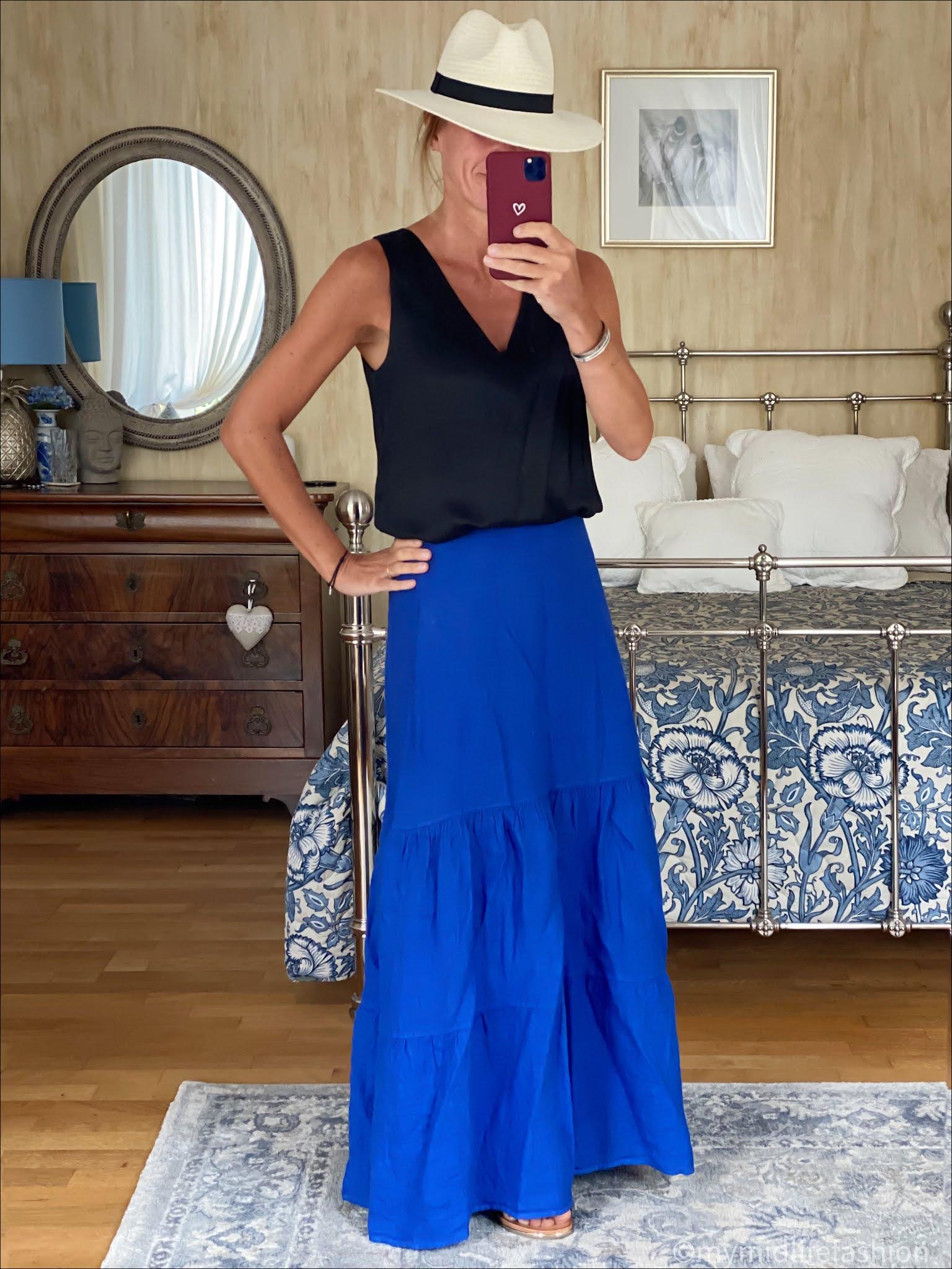 my midlife fashion, phase eight arvinder linen tiered maxi skirt, Zara Panama hat, marks and Spencer silk tank top, carvela karafe sandals
