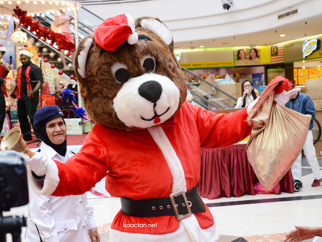 Santa Bear giving some cheer to the children